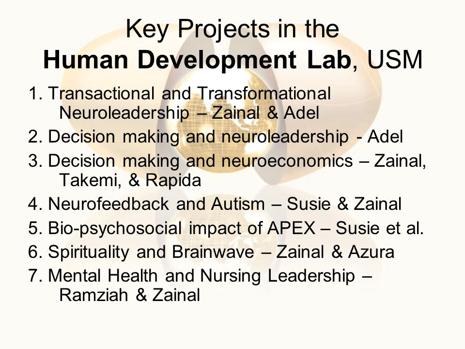 Key Projects in the Human Development Lab, USM