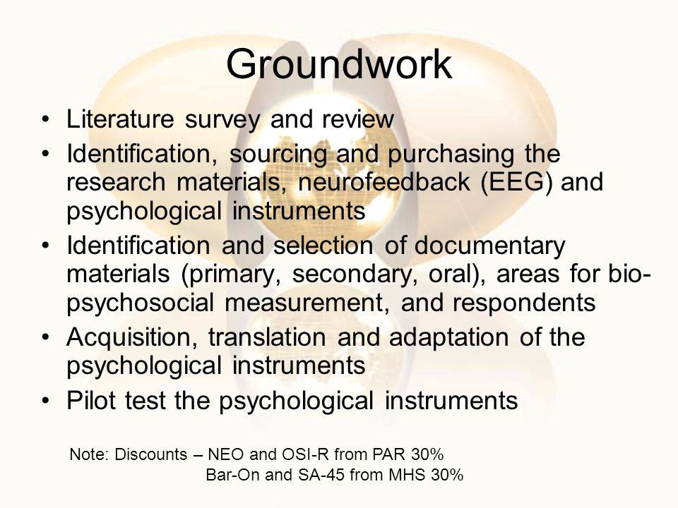Groundwork Literature survey and review