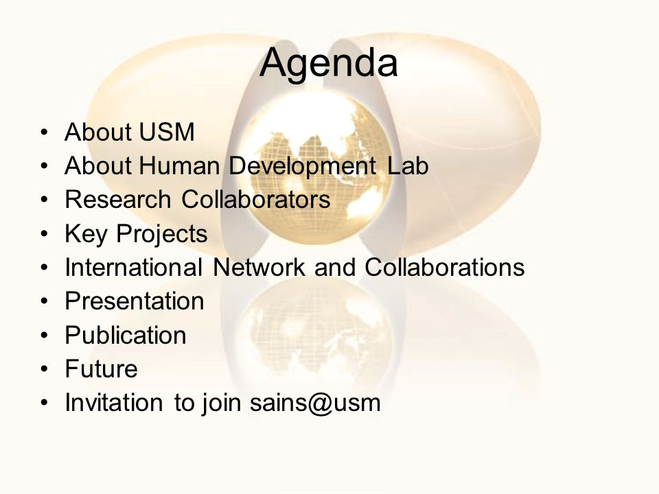 Agenda About USM About Human Development Lab Research Collaborators