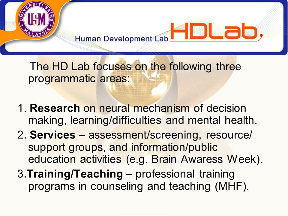 The HD Lab focuses on the following three programmatic areas: