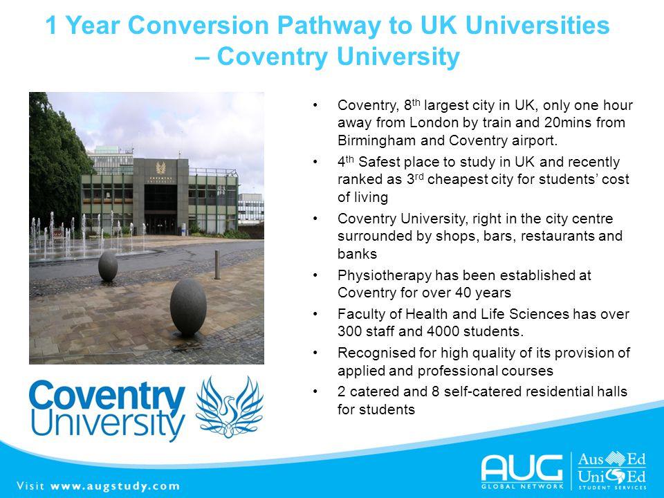 1 Year Conversion Pathway to UK Universities – Coventry University