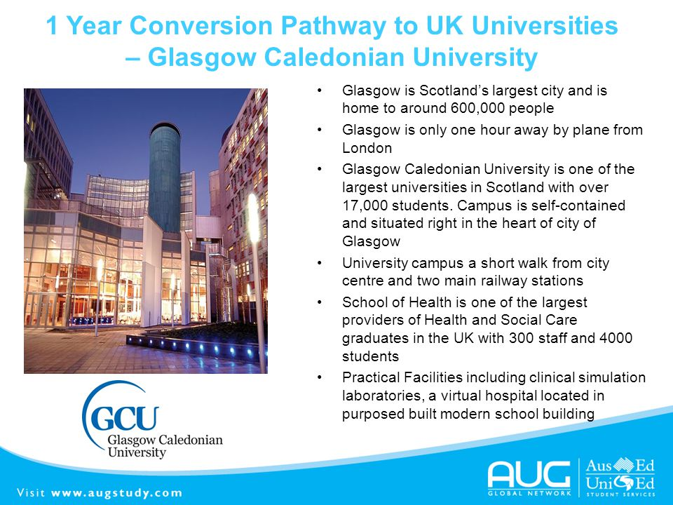1 Year Conversion Pathway to UK Universities – Glasgow Caledonian University