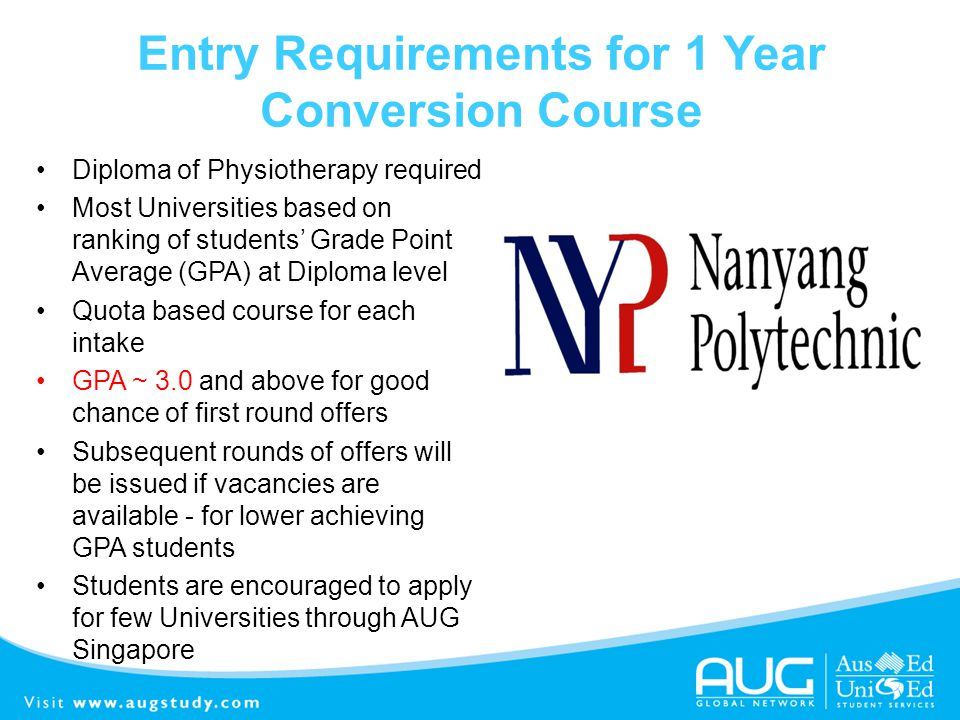 Entry Requirements for 1 Year Conversion Course