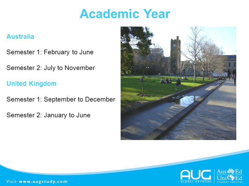 Academic Year Australia Semester 1: February to June