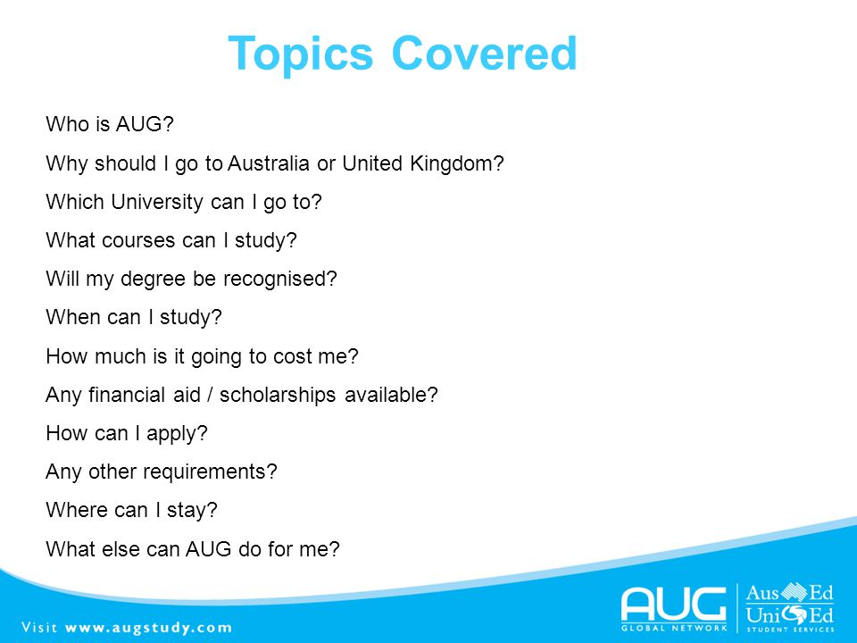 Topics Covered Who is AUG