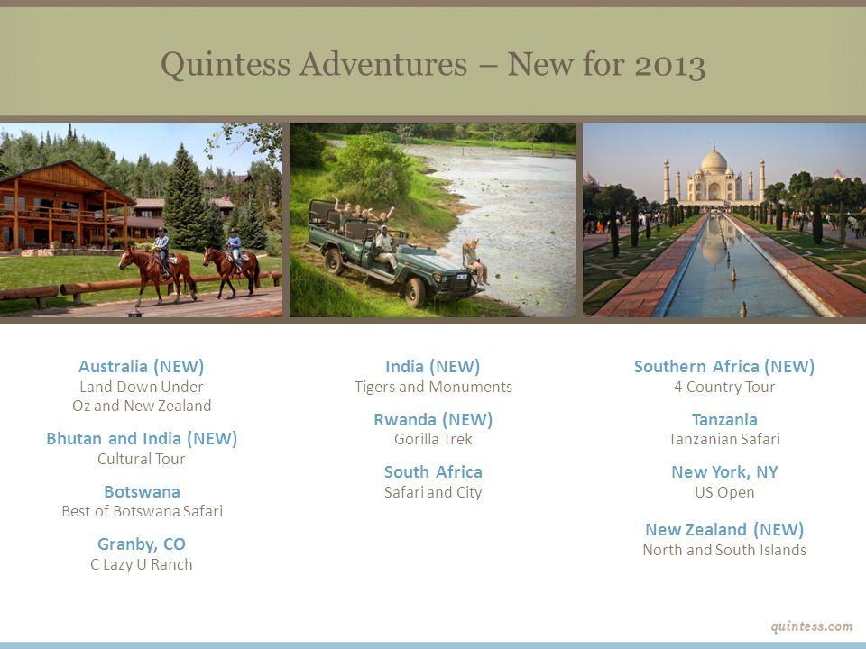 Quintess Adventures – New for 2013