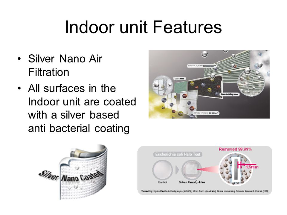 Indoor unit Features Silver Nano Air Filtration