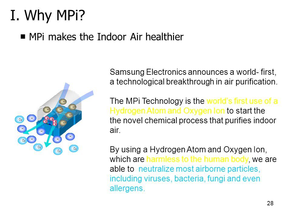 I. Why MPi ■ MPi makes the Indoor Air healthier