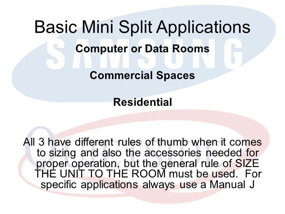 Basic Mini Split Applications