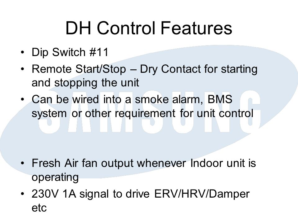 DH Control Features Dip Switch #11