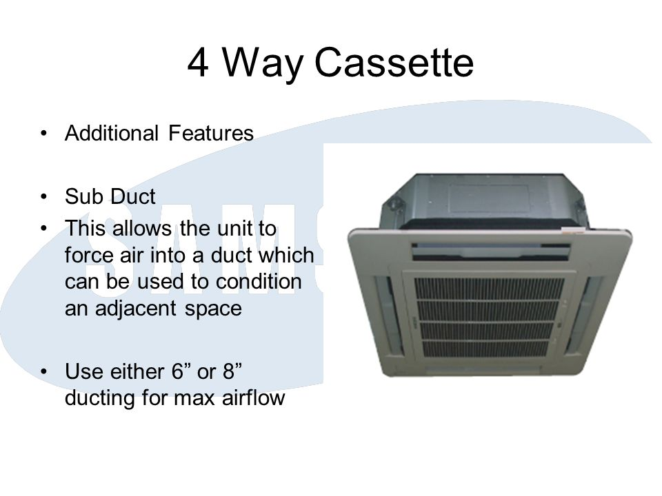 4 Way Cassette Additional Features Sub Duct