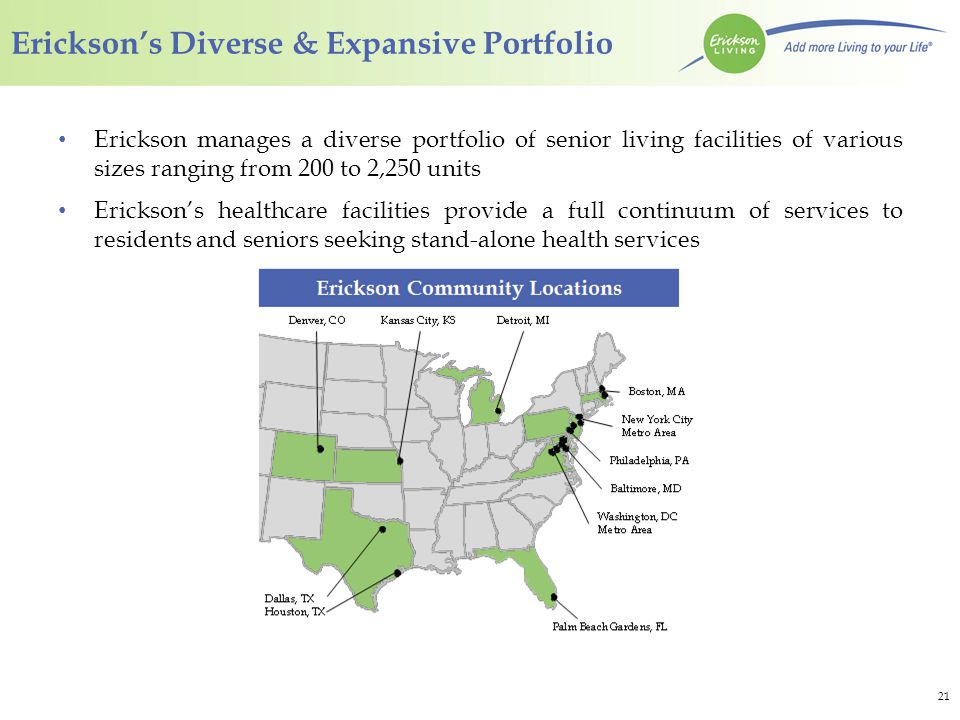Company Overview Erickson Living is one of the largest senior living operators in the United States.