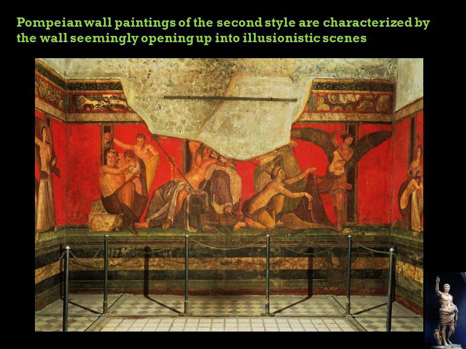 Pompeian wall paintings of the second style are characterized by the wall seemingly opening up into illusionistic scenes