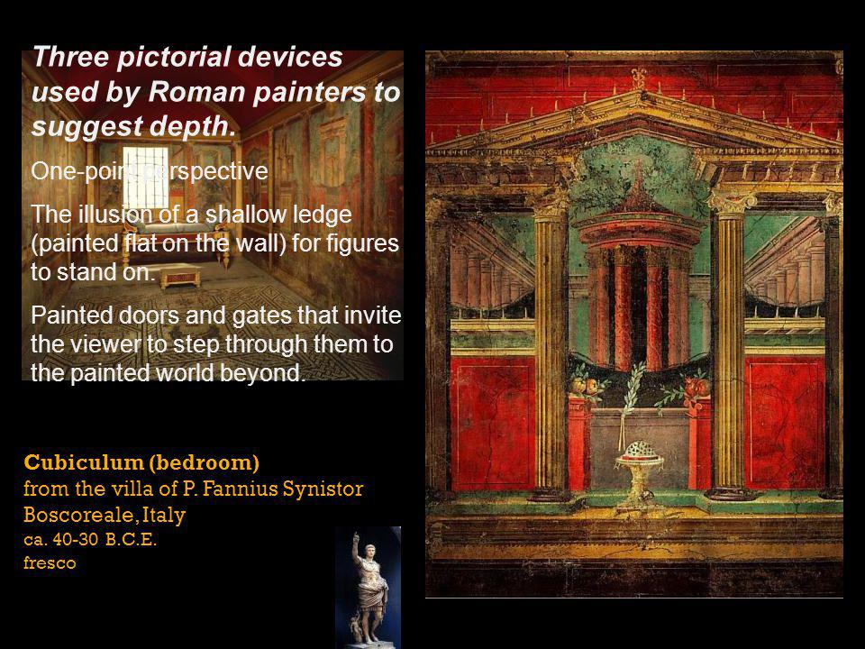Three pictorial devices used by Roman painters to suggest depth.