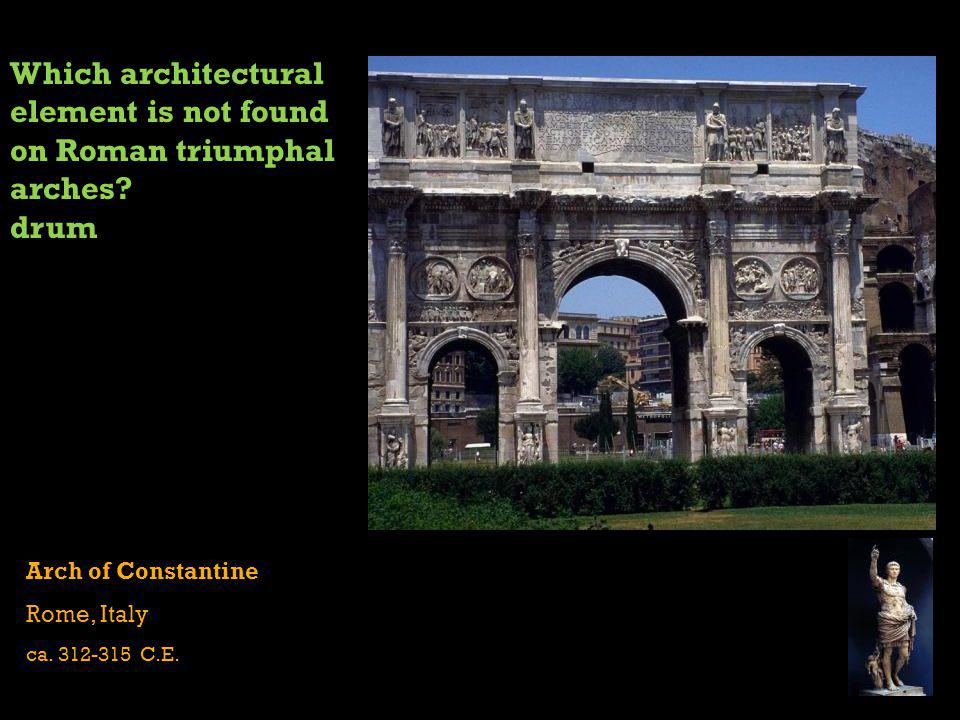 Which architectural element is not found on Roman triumphal arches