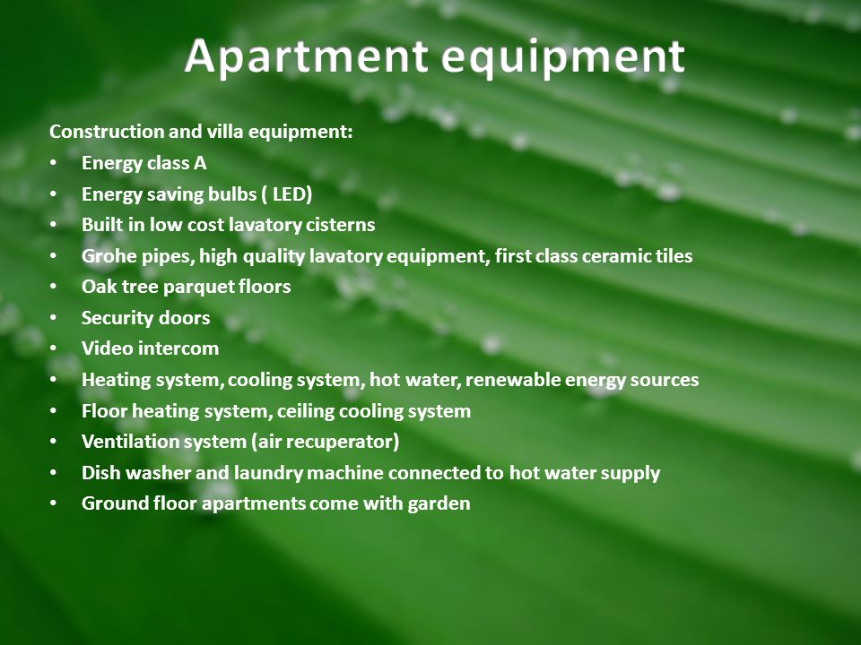 Apartment equipment Construction and villa equipment: Energy class A
