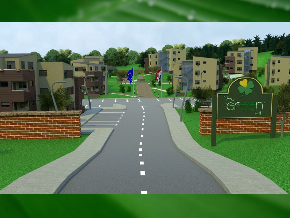 At the following picture there are 3D simulation of entrance and some details of My Green Hill pilot project settlement wich is now in the phase of realization.