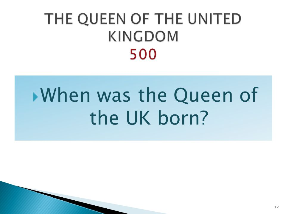 THE QUEEN OF THE UNITED KINGDOM 500