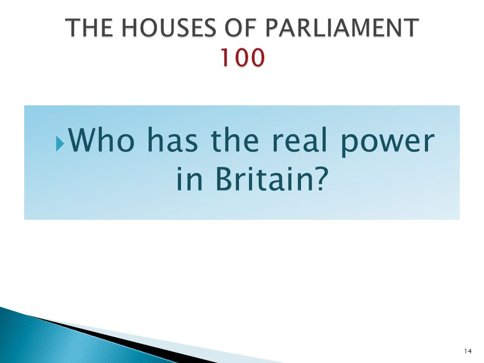 THE HOUSES OF PARLIAMENT 100