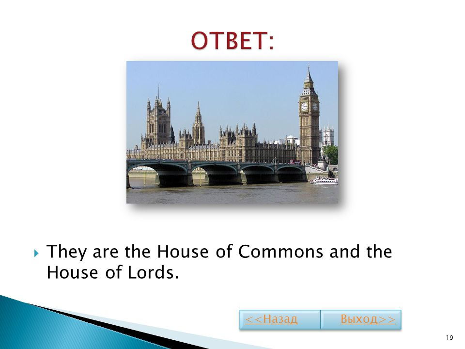 ОТВЕТ: They are the House of Commons and the House of Lords.