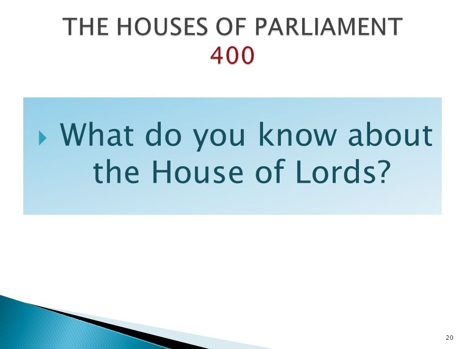 THE HOUSES OF PARLIAMENT 400