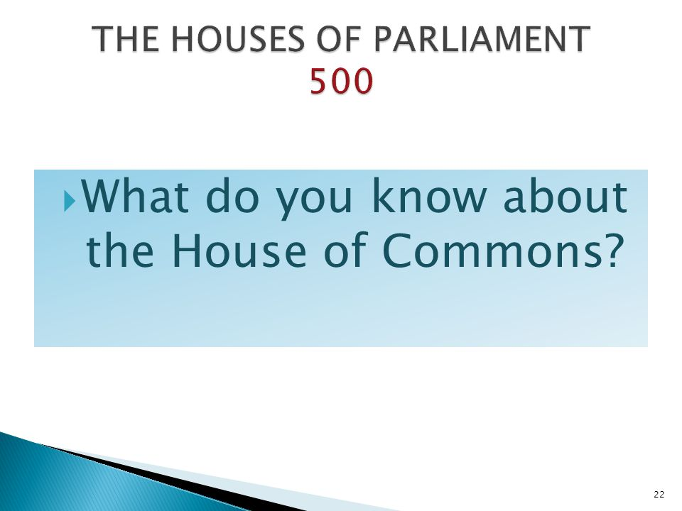 THE HOUSES OF PARLIAMENT 500