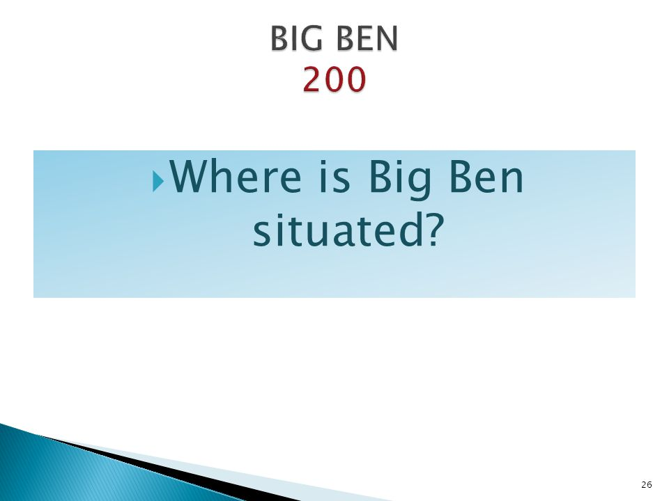 Where is Big Ben situated