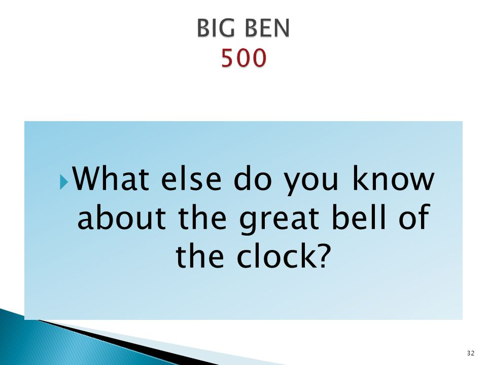 What else do you know about the great bell of the clock