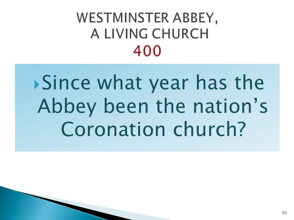 WESTMINSTER ABBEY, A LIVING CHURCH 400