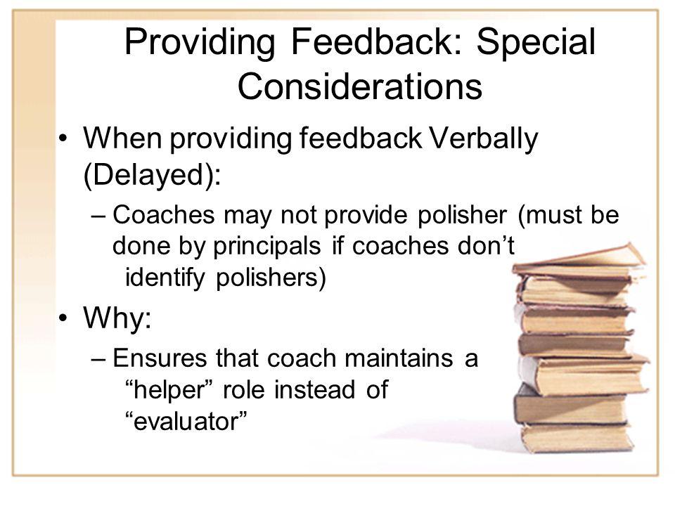 Providing Feedback: Special Considerations