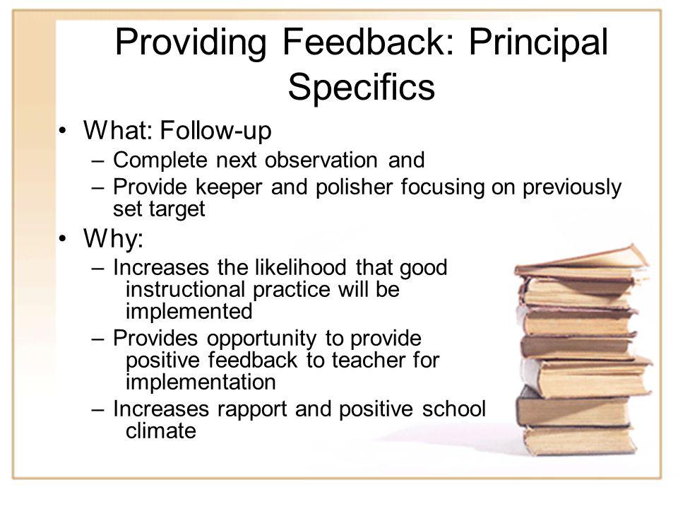Providing Feedback: Principal Specifics