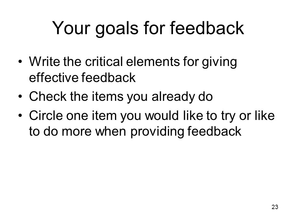 Your goals for feedback