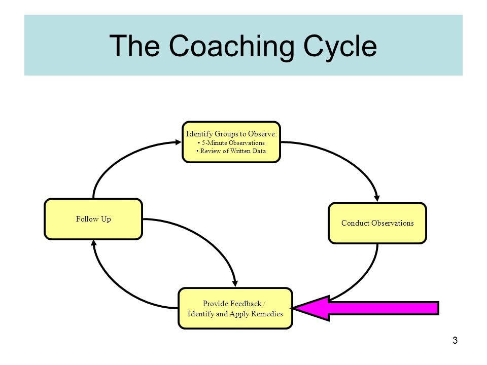 The Coaching Cycle Identify Groups to Observe: Follow Up