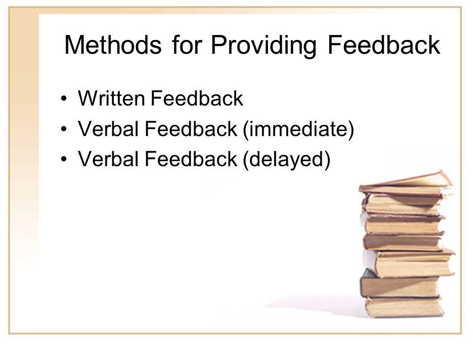 Methods for Providing Feedback