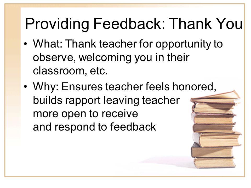 Providing Feedback: Thank You