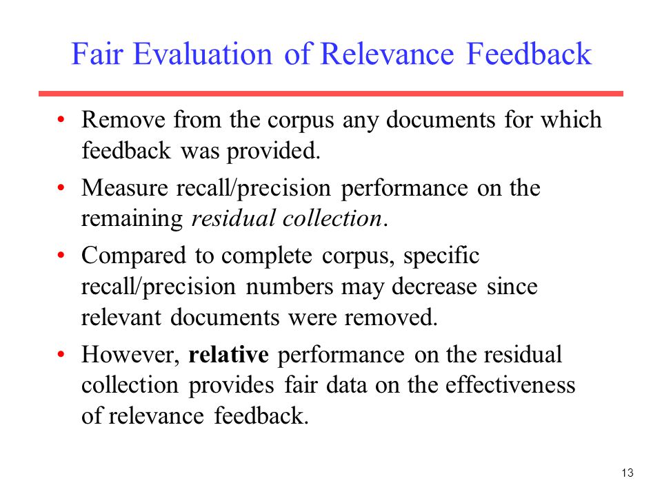 Fair Evaluation of Relevance Feedback