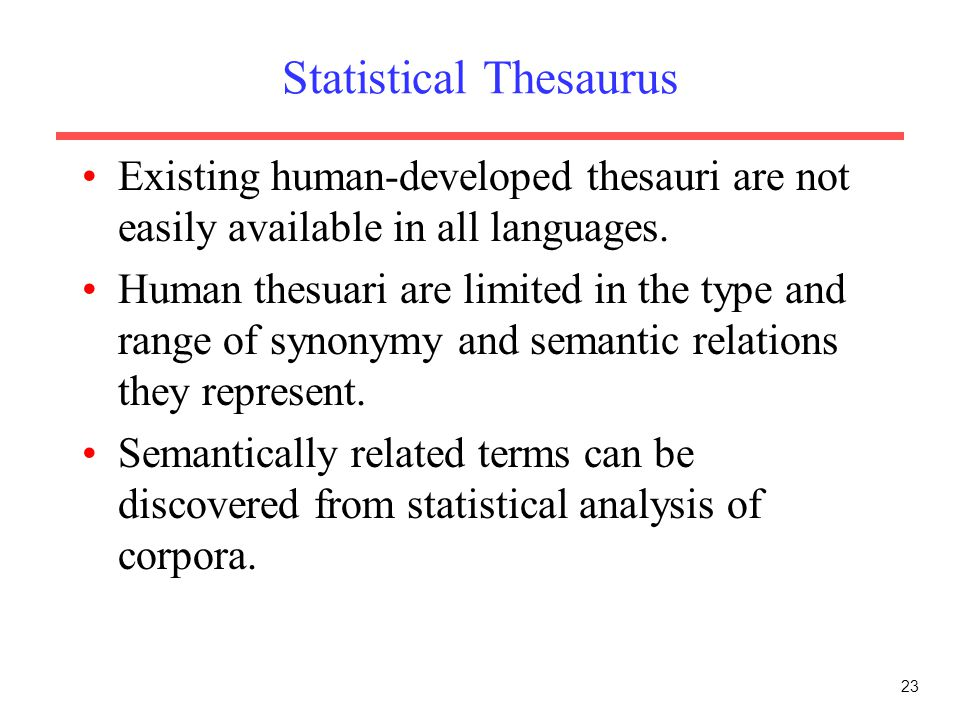Statistical Thesaurus
