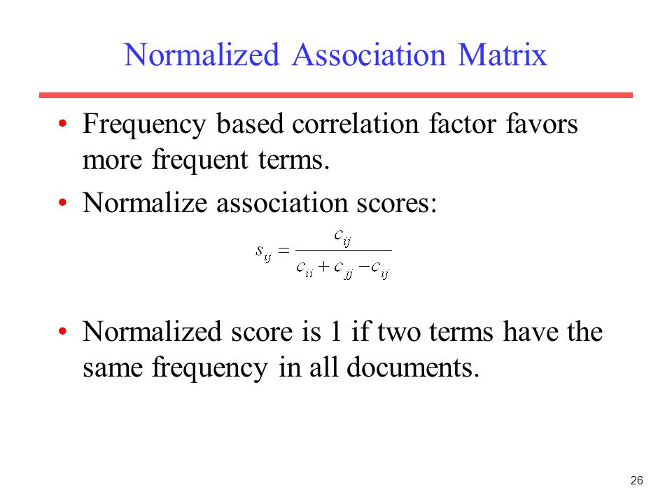 Normalized Association Matrix