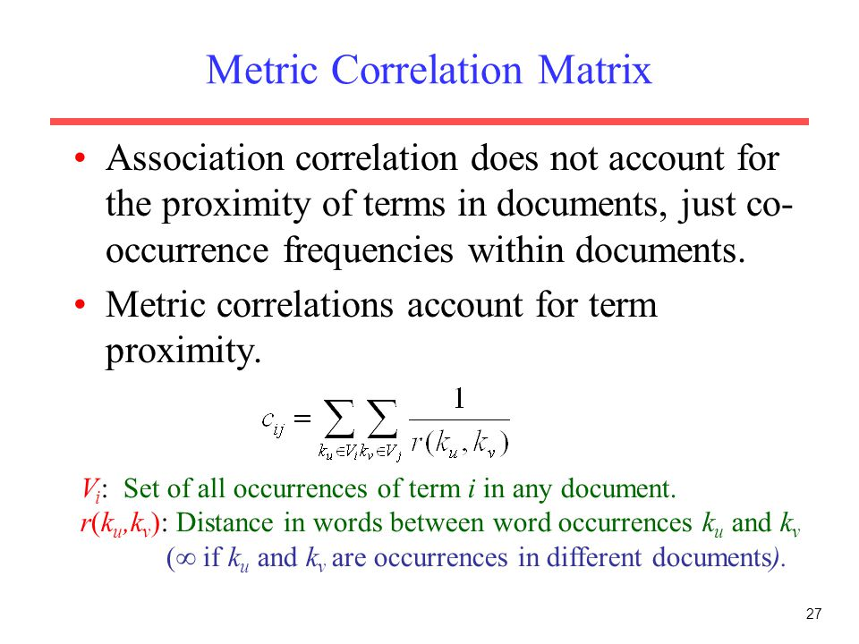 Metric Correlation Matrix
