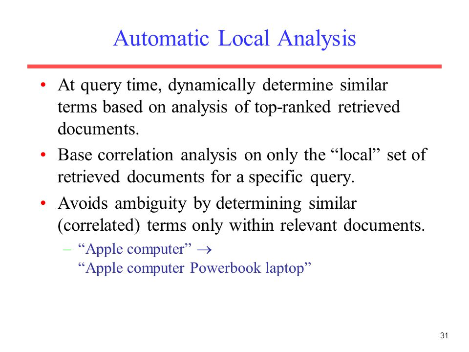 Automatic Local Analysis