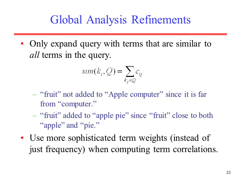 Global Analysis Refinements