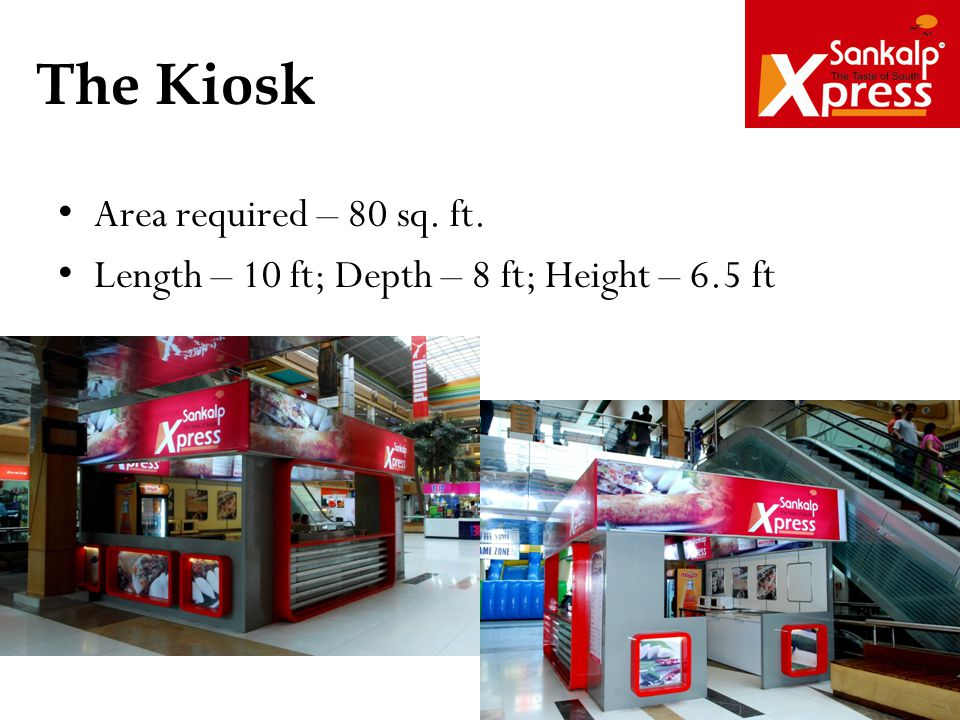 The Kiosk Area required – 80 sq. ft.