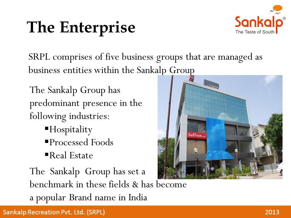 The Enterprise SRPL comprises of five business groups that are managed as business entities within the Sankalp Group.