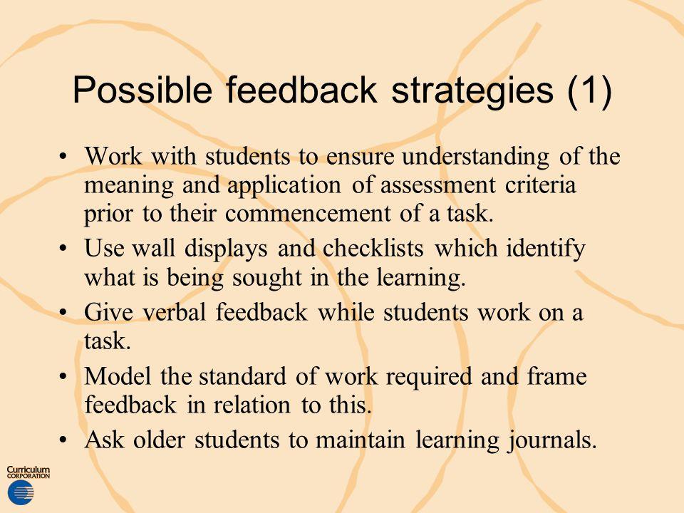 Possible feedback strategies (1)