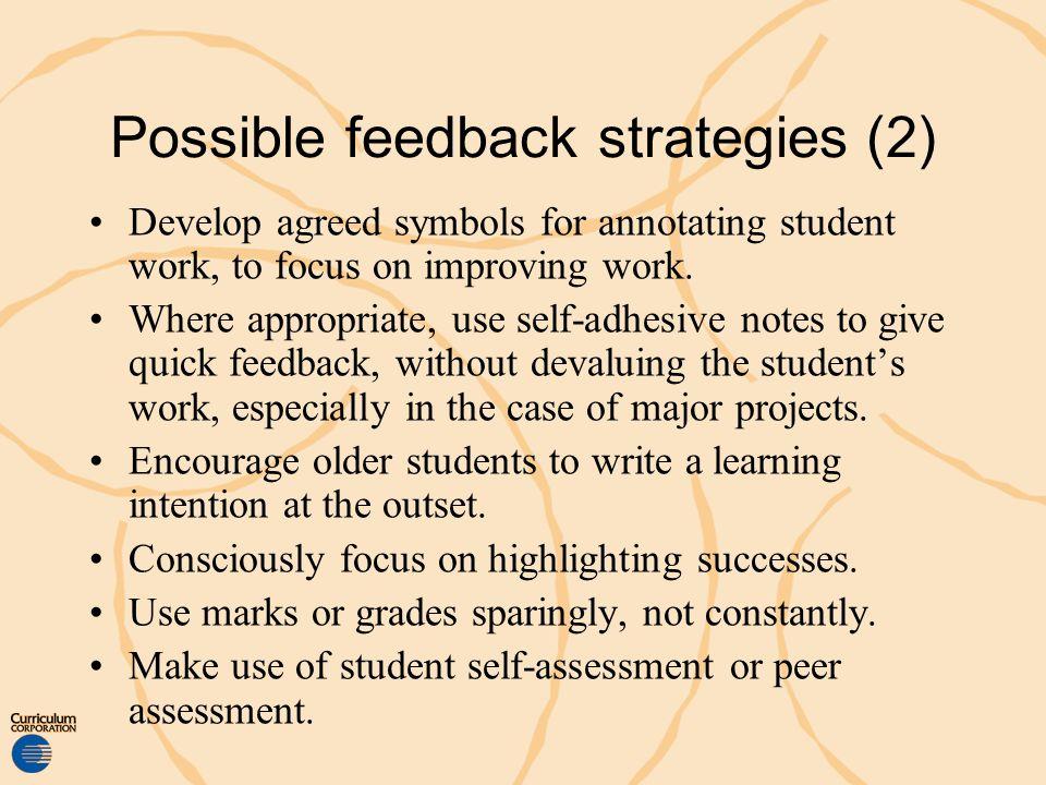 Possible feedback strategies (2)