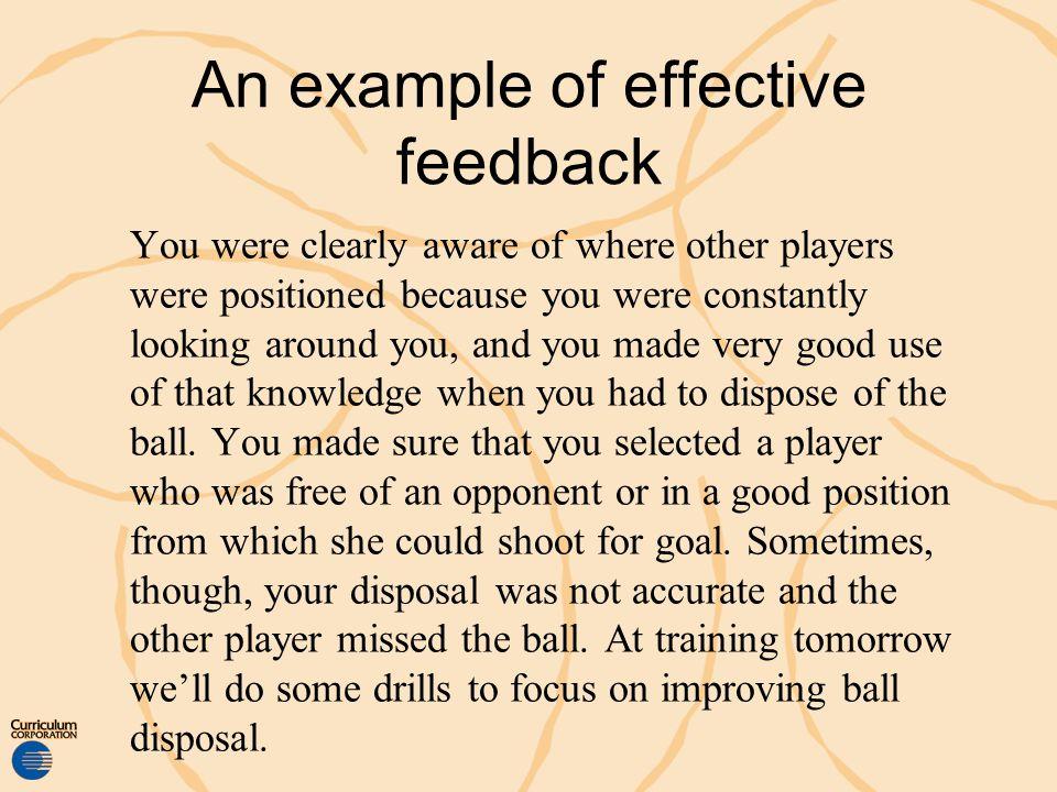 An example of effective feedback
