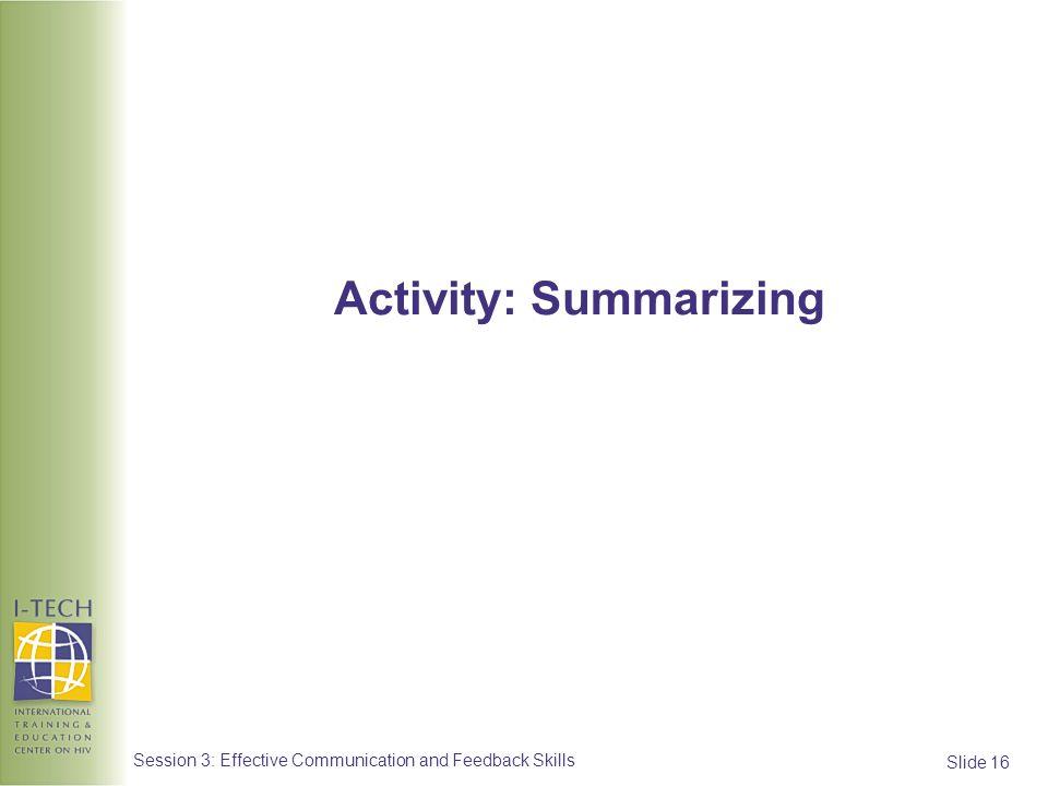 Activity: Summarizing