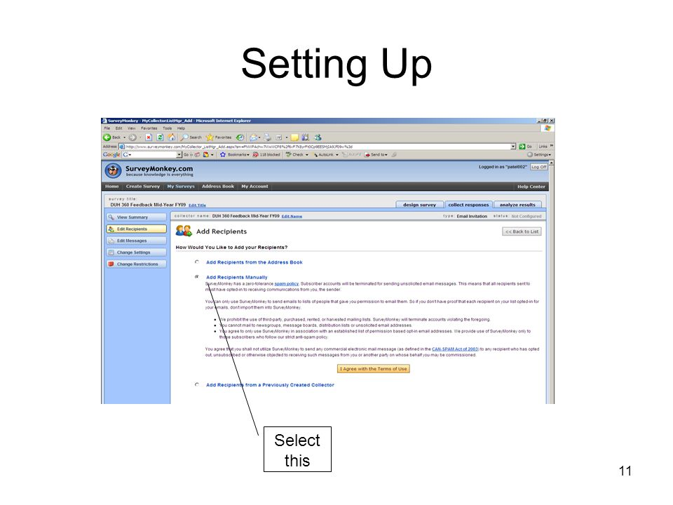 Setting Up Select this