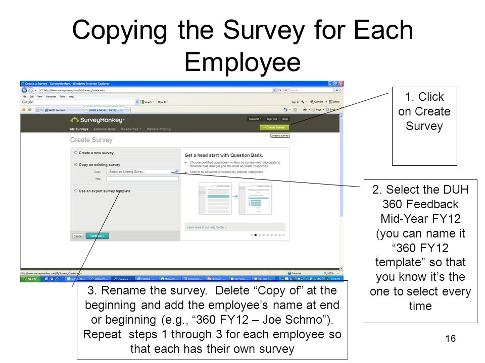 Copying the Survey for Each Employee