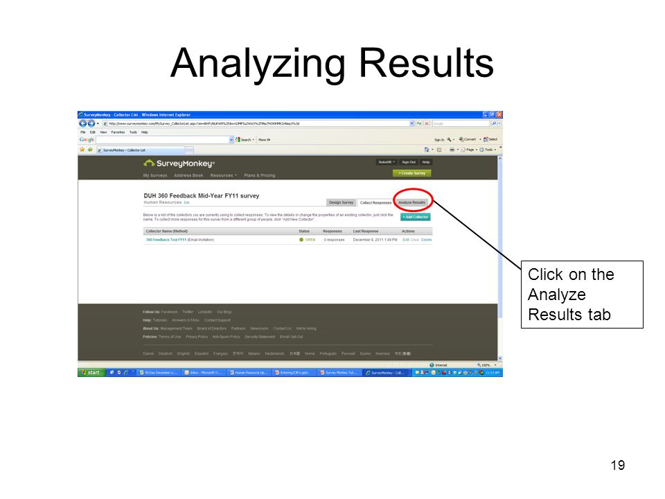 Analyzing Results Click on the Analyze Results tab